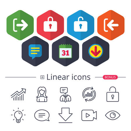 Calendar, Speech bubble and Download signs. Login and Logout icons. Sign in or Sign out symbols. Lock icon. Chat, Report graph line icons. More linear signs. Editable stroke. Vector