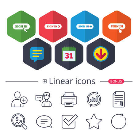 Calendar, Speech bubble and Download signs. Sign in icons. Login with arrow, hand pointer symbols. Website or App navigation signs. Chat, Report graph line icons. More linear signs. Editable stroke Illustration