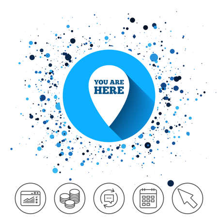 Button on circles background. You are here sign icon. Info map pointer with your location. Calendar line icon. And more line signs. Random circles. Editable stroke. Vector