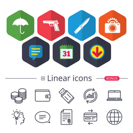 Calendar, Speech bubble and Download signs. Gun weapon icon.Knife, umbrella and photo camera with flash signs. Edged hunting equipment. Prohibition objects. Chat, Report graph line icons. Vector