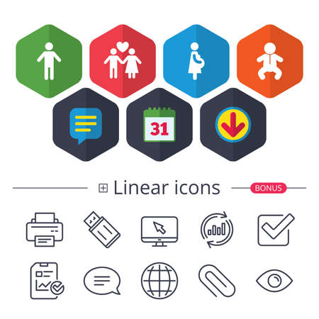 Calendar, Speech bubble and Download signs. Family lifetime icons. Couple love, pregnancy and birth of a child symbols. Human male person sign. Chat, Report graph line icons. More linear signs