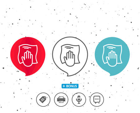 Speech bubbles with symbol. Cleaning cloth line icon. Wipe with a rag symbol. Housekeeping equipment sign. Bonus with different classic signs. Random circles background. Vector