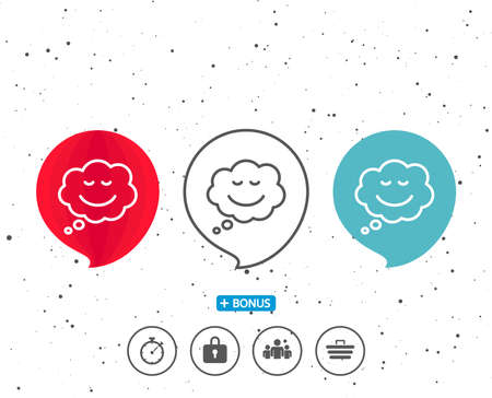 Speech bubbles with symbol. Comic speech bubble with Smile line icon. Chat emotion sign. Bonus with different classic signs. Random circles background. Vector