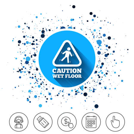 Button on circles background. Caution wet floor sign icon. Human falling triangle symbol. Calendar line icon. And more line signs. Random circles. Editable stroke. Vector