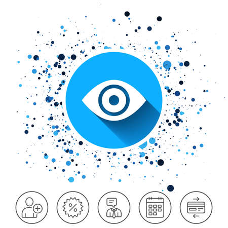 Button on circles background. Eye sign icon. Publish content button. Visibility. Calendar line icon. And more line signs. Random circles. Editable stroke. Vector 向量圖像