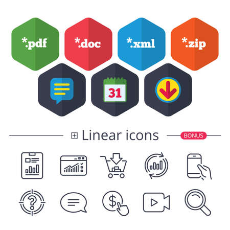 Calendar, Speech bubble and Download signs. Document icons. File extensions symbols. PDF, ZIP zipped, XML and DOC signs. Chat, Report graph line icons. More linear signs. Editable stroke. Vector