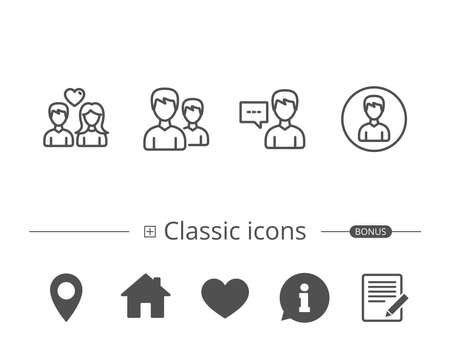 Male and Female, Profile and Couple line icons. Group and Talk signs. Information speech bubble sign. And more signs. Editable stroke. Vector Çizim