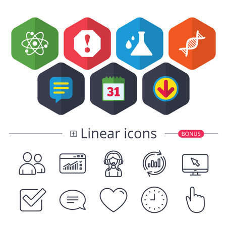 Calendar, Speech bubble and Download signs. Attention and DNA icons. Chemistry flask sign. Atom symbol. Chat, Report graph line icons. More linear signs. Editable stroke. Vector Illustration