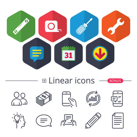Calendar, Speech bubble and Download signs. Screwdriver and wrench key tool icons. Bubble level and tape measure roulette sign symbols. Chat, Report graph line icons. More linear signs. Vector 向量圖像