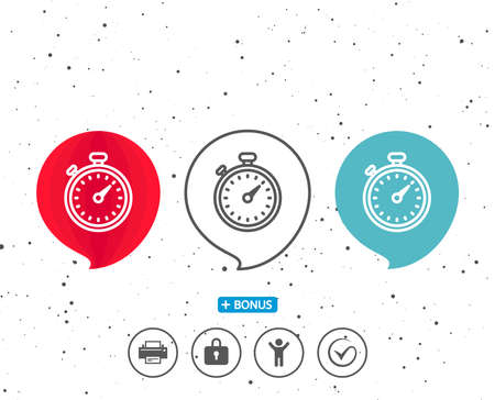 Speech bubbles with symbol. Timer line icon. Stopwatch symbol. Time management sign. Bonus with different classic signs. Random circles background. Vector Reklamní fotografie - 91616794