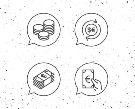 Speech bubbles with signs. Money, Cash and Currency exchange line icons. Banking and Coins signs. Euro and Dollar symbols. Grunge background. Editable stroke. Vector