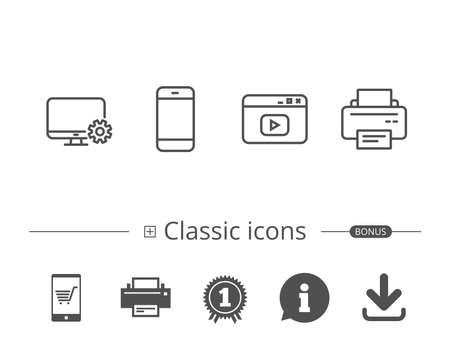 Smartphone, Printer and Browser window line icons. Computer service sign. Information speech bubble sign. And more signs. Editable stroke. Vector
