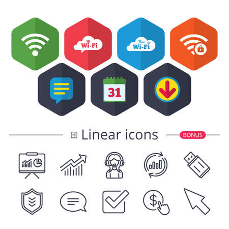 Calendar, Speech bubble and Download signs. Free Wifi Wireless Network cloud speech bubble icons. Wi-fi zone locked symbols. Password protected Wi-fi sign. Chat, Report graph line icons. Vector Ilustração