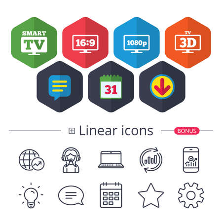 Calendar, Speech bubble and Download signs. Smart TV mode icon. Aspect ratio 16:9 widescreen symbol. Full hd 1080p resolution. 3D Television sign. Chat, Report graph line icons. More linear signs Illustration