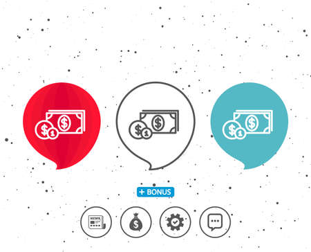 Speech bubbles with symbol. Cash money with Coins line icon. Banking currency sign. Dollar or USD symbol. Bonus with different classic signs. Random circles background. Vector
