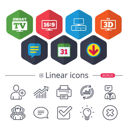 Calendar, Speech bubble and Download signs. Smart TV mode icon. Aspect ratio 16:9 widescreen symbol. 3D Television and TV table signs. Chat, Report graph line icons. More linear signs. Editable stroke Illustration