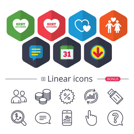 Calendar, Speech bubble and Download signs. Valentine day love icons. Best girlfriend and boyfriend symbol. Couple lovers sign. Chat, Report graph line icons. More linear signs. Editable stroke Ilustração