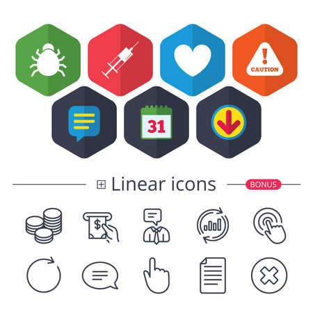 Calendar, Speech bubble and Download signs. Bug and vaccine syringe injection icons. Heart and caution with exclamation sign symbols. Chat, Report graph line icons. More linear signs. Editable stroke Illustration