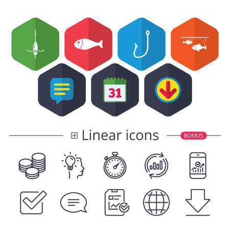 Calendar, Speech bubble and Download signs. Fishing icons. Fish with fishermen hook sign. Float bobber symbol. Chat, Report graph line icons. More linear signs. Editable stroke. Vector