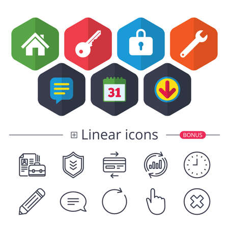Calendar, Speech bubble and Download signs. Home key icon. Wrench service tool symbol. Locker sign. Main page web navigation. Chat, Report graph line icons. More linear signs. Editable stroke. Vector