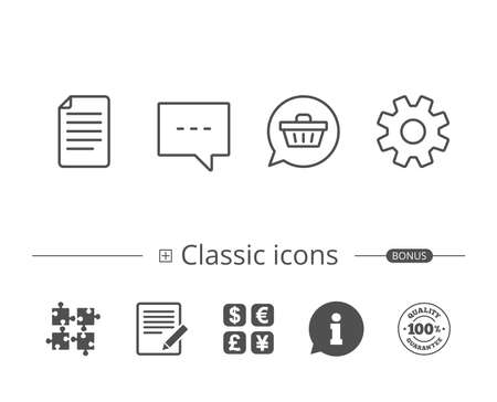 Document file, Chat and Service line icons. Shopping cart in Speech bubble sign. Information speech bubble sign. And more signs. Editable stroke. Vector
