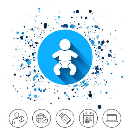 Button on circles background. Baby infant sign icon. Toddler boy with diapers symbol. Child WC toilet. Calendar line icon. And more line signs. Random circles. Editable stroke. Vector