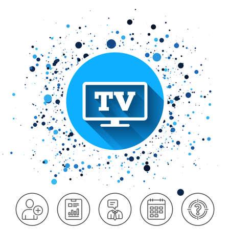 サークルの背景にボタン。ワイド スクリーン テレビの記号のアイコン。テレビでは、シンボルを設定します。カレンダー ライン アイコン。より線