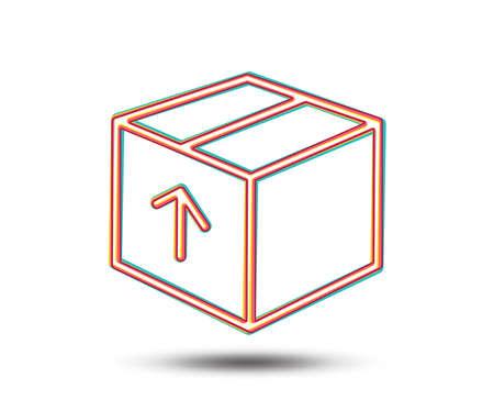 配信ボックスの行アイコン。ロジスティクス出荷サイン。区画トラッキング シンボル。カラフルなグラフィックデザイン。ベクトル