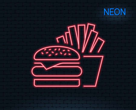 Neon light. Burger with fries line icon. Fast food restaurant sign. Hamburger or cheeseburger symbol. Glowing graphic design. Brick wall. Vector