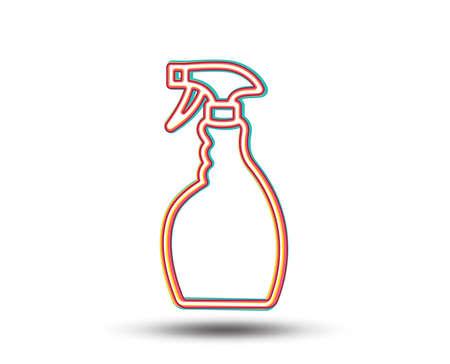 クリーニングスプレーラインアイコン。洗浄液またはクレンザー記号。ハウスキーピング機器の看板。カラフルなグラフィックデザイン。ベクトル  イラスト・ベクター素材