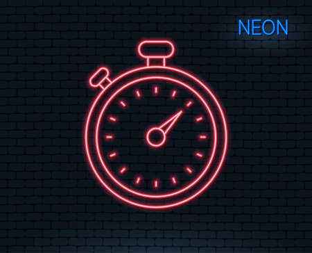 Neon light. Timer line icon. Stopwatch symbol. Time management sign. Glowing graphic design. Brick wall. Vector