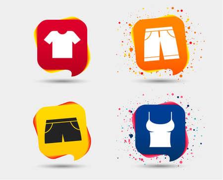 Kleren pictogrammen. T-shirt en bermuda shorts tekenen. Zwembroek symbool. Tekstballonnen of chatsymbolen. Gekleurde elementen. Vector