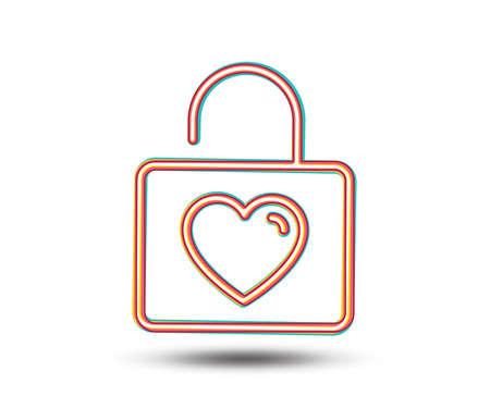 ハートラインアイコン付きのロッカー。愛のシンボル。バレンタインデーや結婚式の看板。カラフルなグラフィックデザイン。ベクトル
