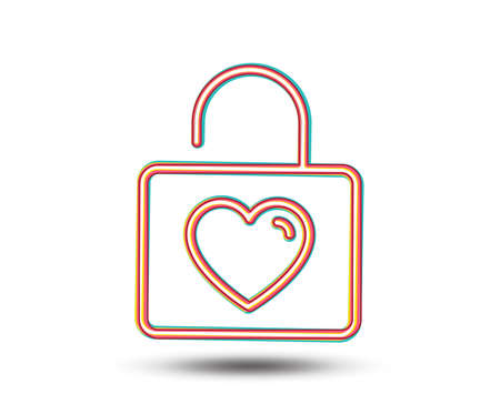 Locker with Heart line icon. Love symbol. Valentines day or Wedding sign. Colourful graphic design. Vector