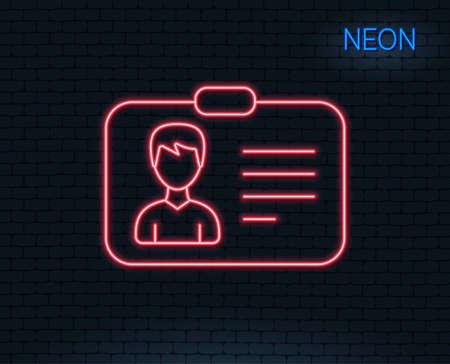 Neon light. ID card line icon. User Profile sign. Male Person silhouette symbol. Identification plastic card. Glowing graphic design. Brick wall. Vector Çizim