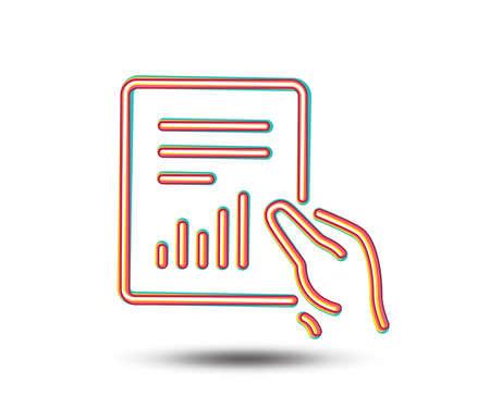 보류 리포트 문서 아이콘. 분석 차트 또는 판매 성장 기호입니다. 통계 데이터 기호입니다. 다채로운 그래픽 디자인입니다. 벡터 일러스트