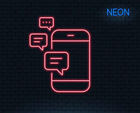 ネオンライト通信回線アイコン。スマートフォンのチャットシンボル。ビジネス メッセージはサインします。輝くグラフィックデザイン。レンガの