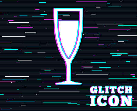 Glitch effect. Glass of champagne sign icon. Sparkling wine. Celebration or banquet alcohol drink symbol. Background with colored lines. Vector Illustration