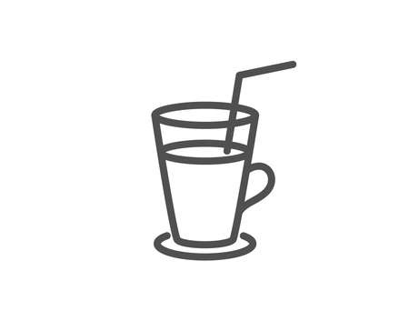 Coffee or Cocktail line icon. Fresh drink sign. Beverage symbol. Quality design element. Editable stroke. Vector 向量圖像