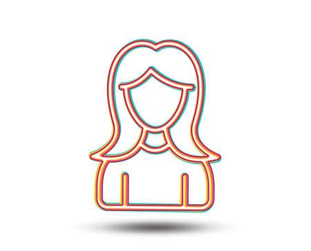 User line icon. Female Profile sign. Woman Person silhouette symbol. Colourful graphic design. Vector