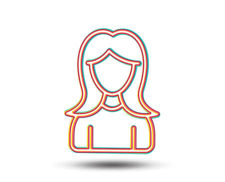User line icon. Female Profile sign. Woman Person silhouette symbol. Colourful graphic design. Vector