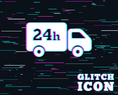 Glitch effect. 24 hours delivery service. Cargo truck symbol. Background with colored lines. Vector