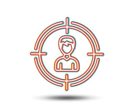 Hoofd jacht lijn pictogram. Zakelijk doel of werkgelegenheid teken. Kleurrijk grafisch ontwerp. Vector