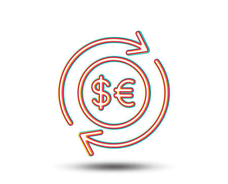 Money exchange line icon. Banking currency sign. Euro and Dollar Cash transfer symbol. Colourful graphic design. Vector 向量圖像
