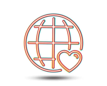 International Love line icon. Heart with Globe symbol. Valentines day sign. Colourful graphic design. Vector Ilustracja