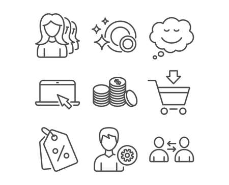 Set of Women headhunting, Discount tags and Banking money icons. Clean dishes, Speech bubble and Support signs. Portable computer, Online market and Communication symbols. Vector Ilustração
