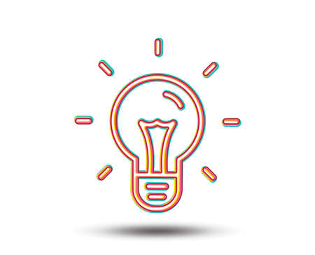 Idea line icon. Light bulb sign. Copywriting symbol. Colourful graphic design. Vector