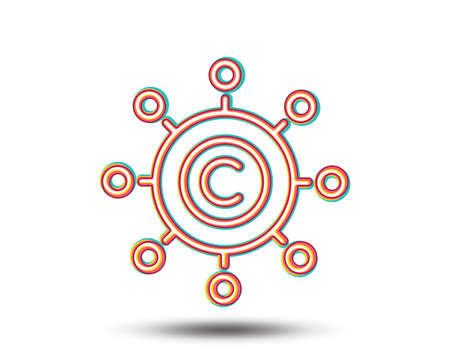 Copywriting network line icon. Copyright sign. Content networking symbol. Colourful graphic design. Vector
