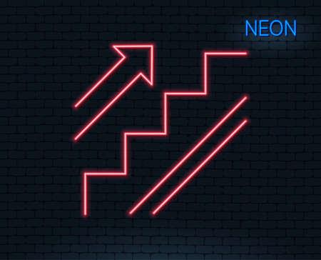 네온 불빛. 계단 라인 아이콘입니다. 쇼핑 계단 기호입니다. 입구 또는 출구 기호. 빛나는 그래픽 디자인. 벽돌 벽. 벡터