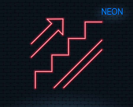 Neon light. Stairs line icon. Shopping stairway sign. Entrance or Exit symbol. Glowing graphic design. Brick wall. Vector Imagens - 93008133